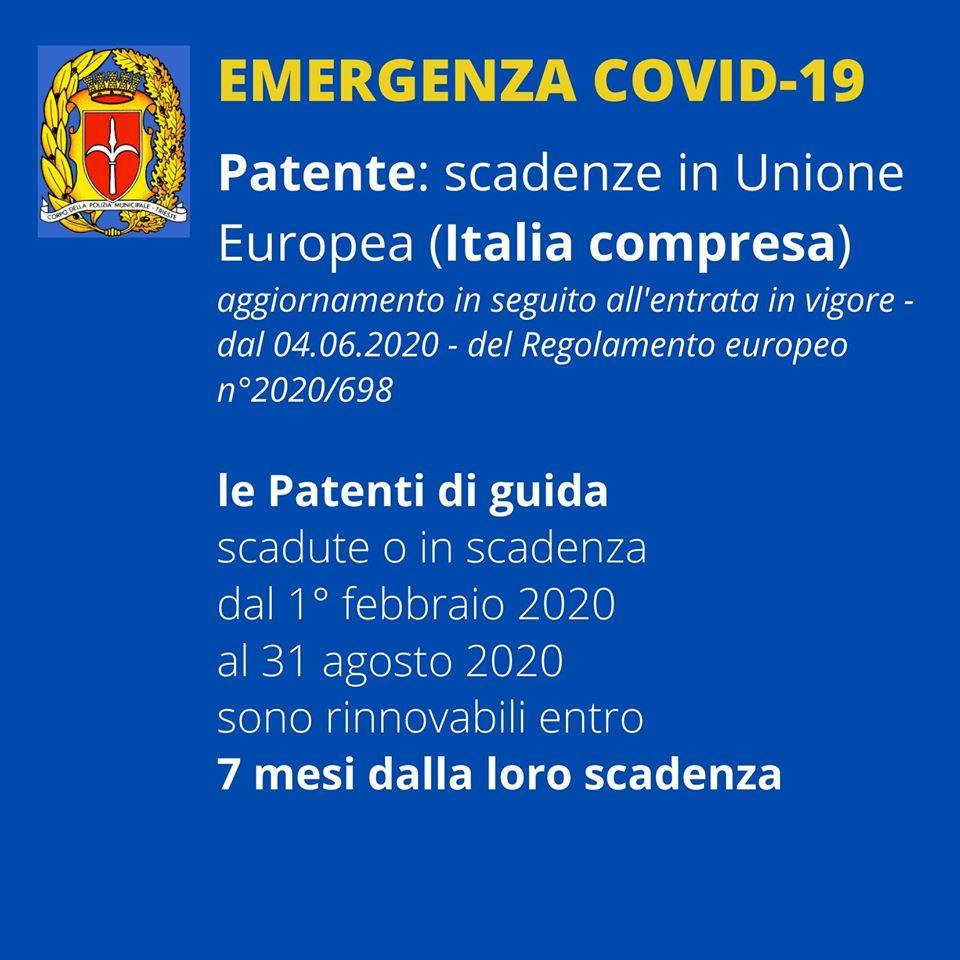 L'uscita del Regolamento UE 2020/698 – applicato anche in Italia e in vigore dal 4 giugno scorso – modifica alcuni termini di scadenza che diventano più favorevoli per il cittadino. Qui sotto le nuove disposizioni sulle patenti di guida scadute o in scadenza dal 1° febbraio al 31 agosto 2020.