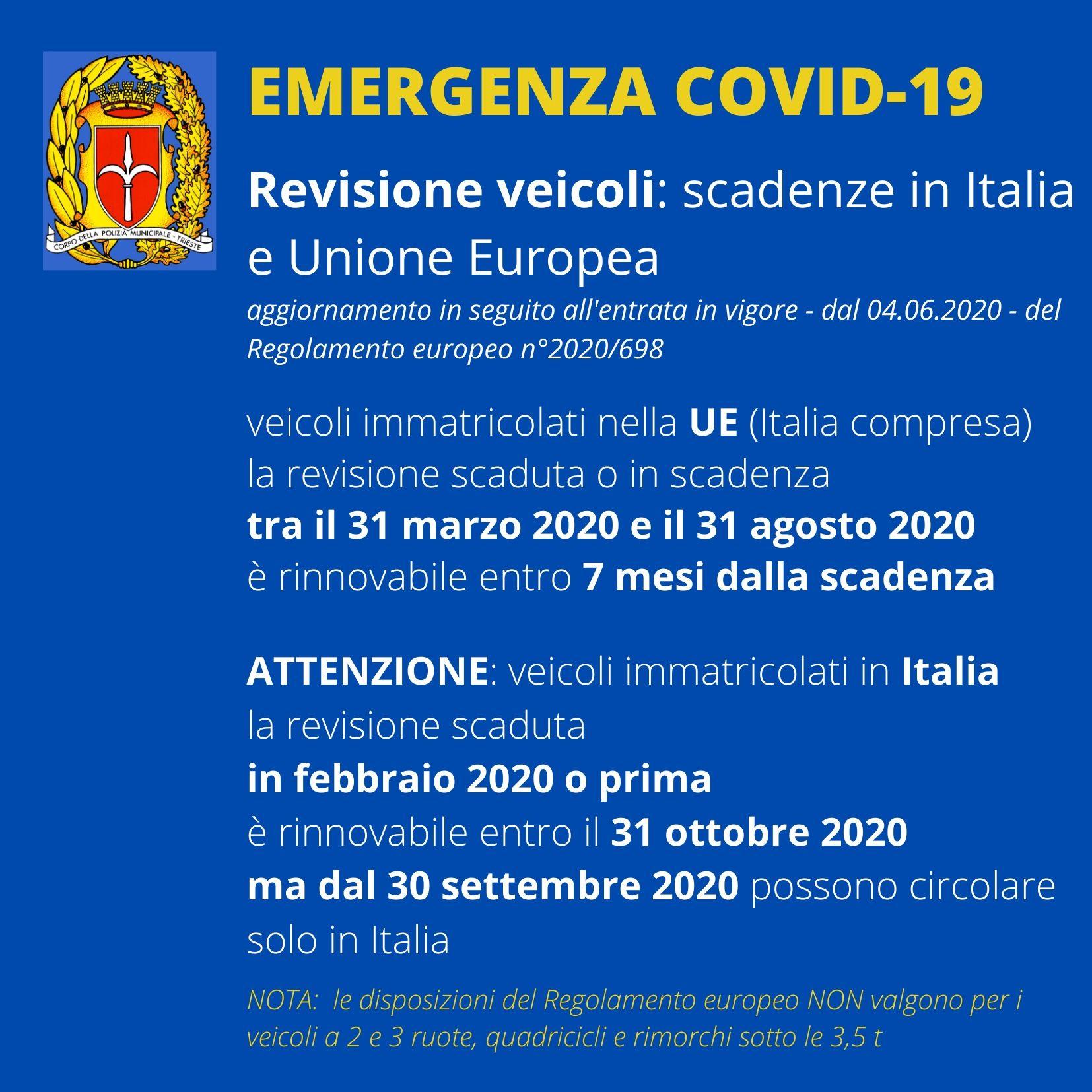 Emergenza Covid: Termini per la revisione dei veicoli
