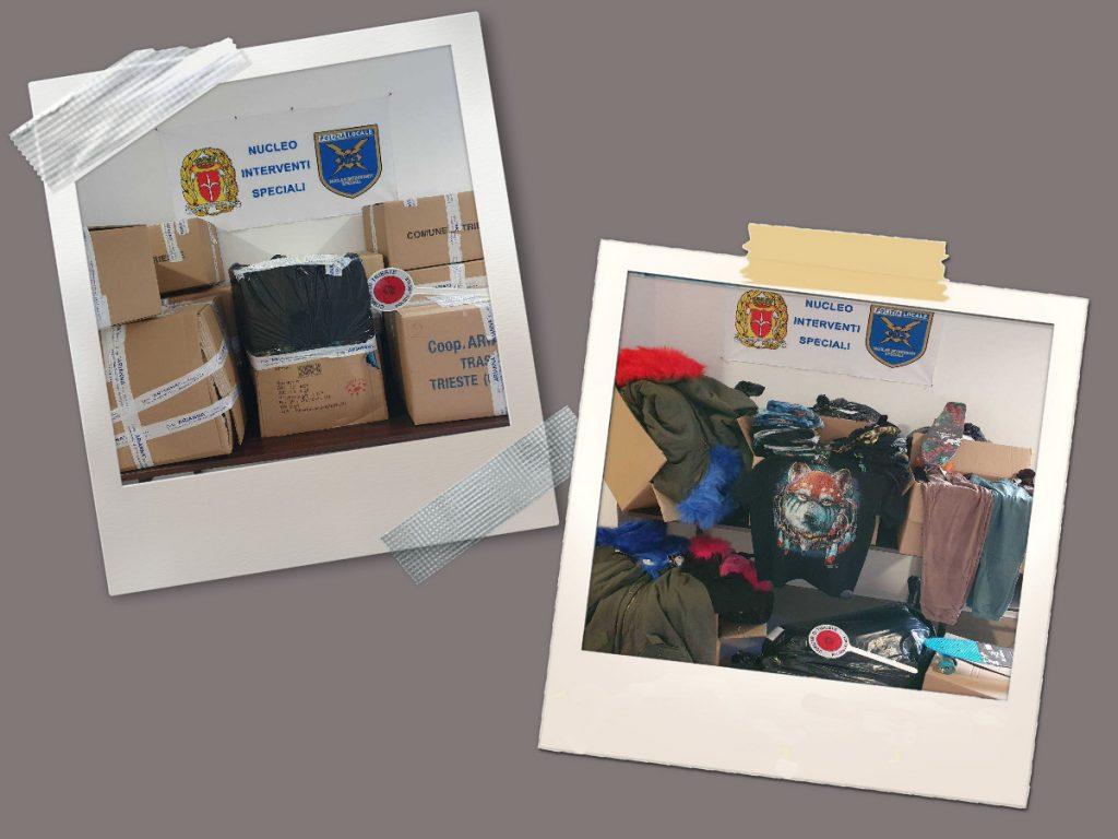 Lotta alla contraffazione: la Polizia Locale sequestra 367 capi d'abbigliamento e 6 skateboard